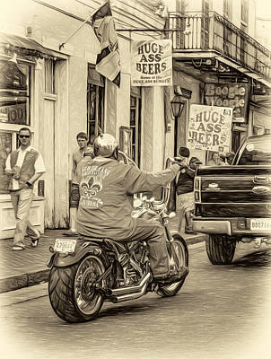 The American Way - Harleys Pickups And Huge Ass Beers - Sepia Art Print by Steve Harrington