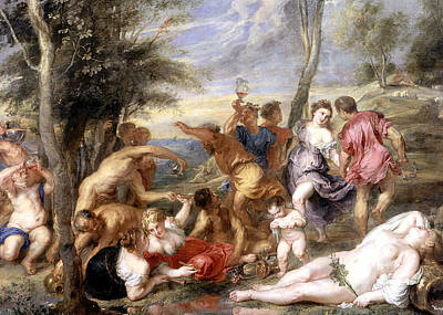 Drunk Painting - The Andrians A Free Copy After Titian by Peter Paul Rubens