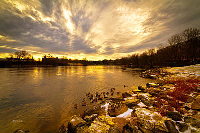 Androscoggin Photograph - The Androscoggin River Between Lewiston And Auburn by Bob Orsillo