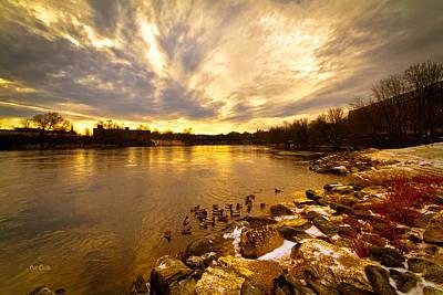 The Androscoggin River Between Lewiston And Auburn Art Print by Bob Orsillo