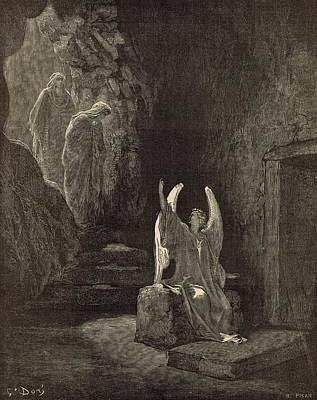 Scriptural Drawing - The Angel At The Sepulchre by Antique Engravings