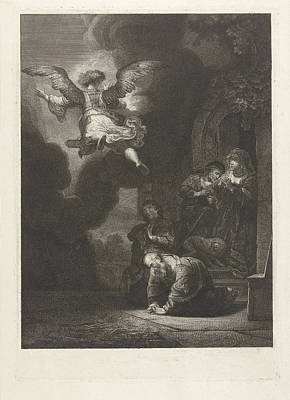 Frey Drawing - The Angel Leaves Tobias And His Family, Johannes Pieter De by Johannes Pieter De Frey And Rembrandt Harmensz. Van Rijn
