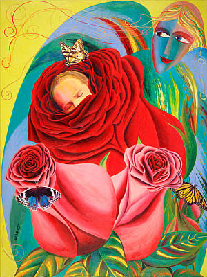 American Jewish Artists Painting - The Angel Of Roses by Israel Tsvaygenbaum