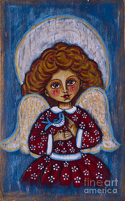 The Angelic Girl With A Bird Original
