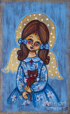 Sacral Painting - The Angelic Girl With A Cat by Iwona Fafara-Pilch