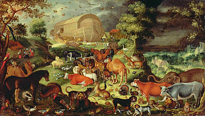 Ostrich Painting - The Animals Entering The Ark by Jacob II Savery