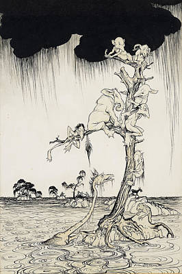 Flood Painting - The Animals You Know Are Not As They Are Now by Arthur Rackham