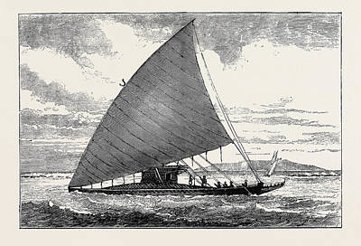 Outrigger Drawing - The Annexation Of The Fiji Islands A Fiji Canoe by English School