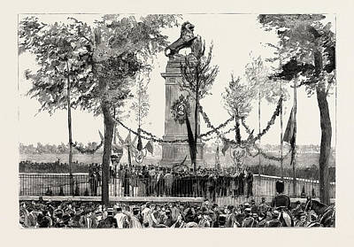 Historic Statue Drawing - The Anniversary Of The Battle Of Waterloo, The Statue by Belgian School