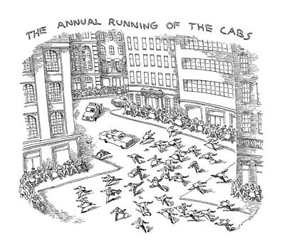 Tradition Drawing - The Annual Running Of The Cabs by John O'Brien