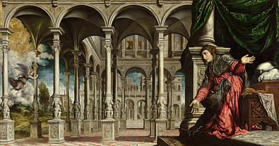 Annonciation Photograph - The Annunciation, 1545-50 Oil On Canvas For Detail See 89724 by Paris Bordone