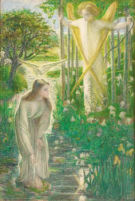 Lilies Drawing - The Annunciation, 1855 by Dante Gabriel Charles Rossetti