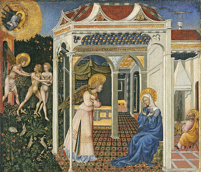 Garden-of-eden Painting - The Annunciation And Expulsion From Paradise by Giovanni di Paolo di Grazia