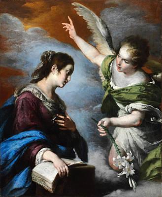 Religious Artist Painting - The Annunciation by Bernardo Strozzi