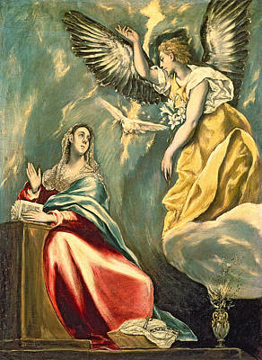 Virgin Mary Photograph - The Annunciation, C.1595-1600 Oil On Canvas by El Greco