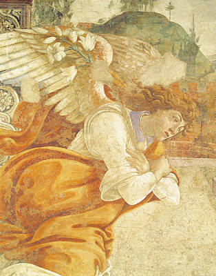 The Annunciation, Detail Of The Archangel Gabriel, From San Martino Della Scala, 1481 Fresco Art Print