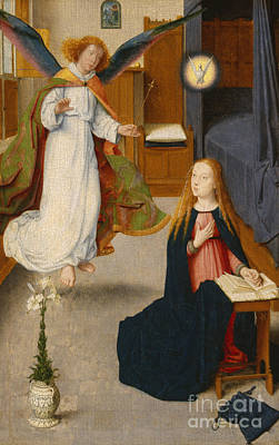 Renaissance Angel Painting - The Annunciation by Gerard David