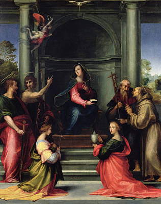 Mary Magdalene Photograph - The Annunciation With Saints, 1515 Oil On Panel by Fra Bartolommeo