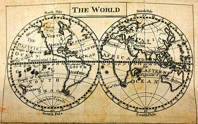 Globe Painting - the Antique Map of Habitable World New York 1795 by Celestial Images