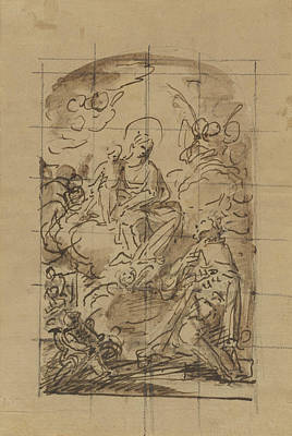 Wash Drawing - The Apparition Of The Virgin And Child To Saint Louis by Litz Collection