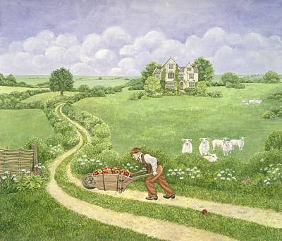Crowds Painting - The Apple Barrow by Ditz