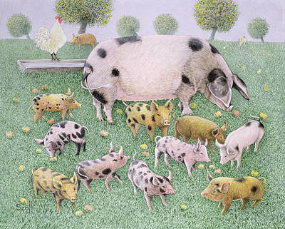 Piggies Painting - The Apple Feast by Pat Scott