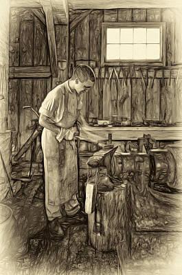 The Apprentice - Paint Sepia Art Print by Steve Harrington