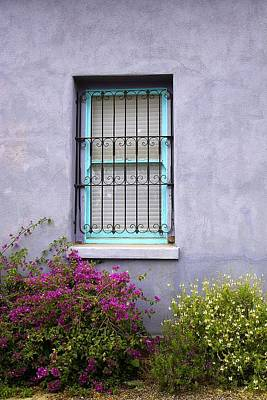 Photograph - The Aqua Blue Window And Spring Flowers by Lucinda Walter