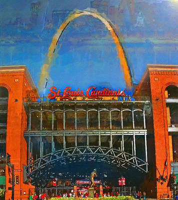 Busches Painting - The Arch And Busch Stadium by John Farr