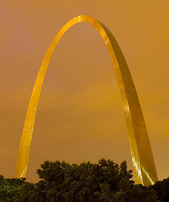 The Arch In The Glow Of St Louis City Lights At Night Art Print by Garry McMichael