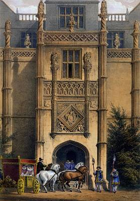Medieval Entrance Drawing - The Arch, Montacute House, Somerset by Joseph Nash