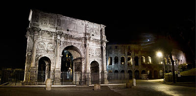 Photograph - The Arch Of Constantine And The Colosseum At Night by Weston Westmoreland