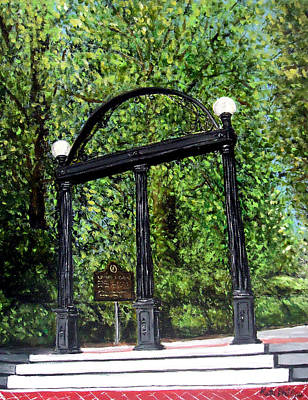 Bulldog Painting - The Arch At Uga by Katie Phillips
