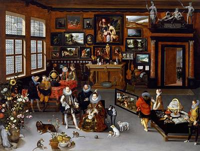 Netherlands Painting - The Archdukes Albert And Isabella Visiting A Collector's Cabinet by Jan Brueghel the Elder