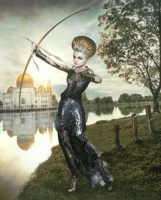 Surrealistic Mixed Media - The Archer by Vic Lee