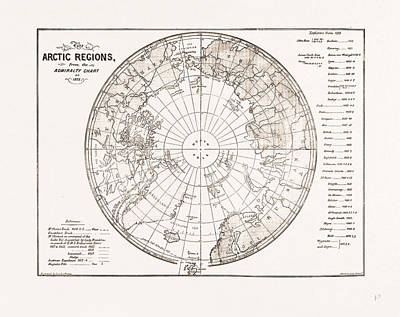 Arctic Drawing - The Arctic Expedition Chart Of The Polar Regions by Litz Collection