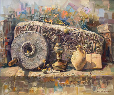 The Armenian Still-life With A Fragment Cross - Stone  Armenian Khachqar Original by Meruzhan Khachatryan