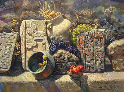 The Armenian Still Life With Cross  Stone Khachkar Art Print by Meruzhan Khachatryan