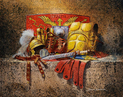 Traditional Still Life Painting - The Armour Of God by Graham Braddock