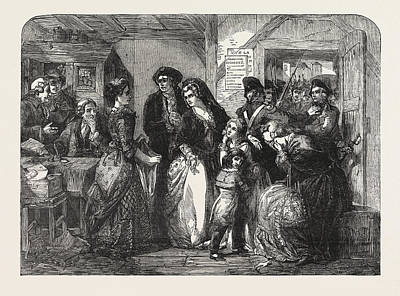 The Arrest Of Louis Xvi And His Family At Varennes In June Print by T.f. Maurice Charles Mathieu Bonvoisin (named Maurice Charles Mathieu Bonvoisin (named Mars), (1849-1912), Belgian), (1849-1912), Belgianhall