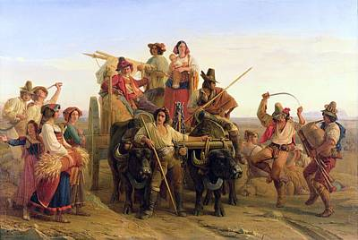 Bagpipes Wall Art - Photograph - The Arrival Of The Harvesters In The Pontine Marshes, 1830 Oil On Canvas by Louis Leopold Robert