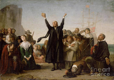 Thank Painting - The Arrival Of The Pilgrim Fathers by Antonio Gisbert