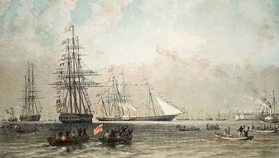 Yacht Drawing - The Arrival Of The Royal Yacht by English School