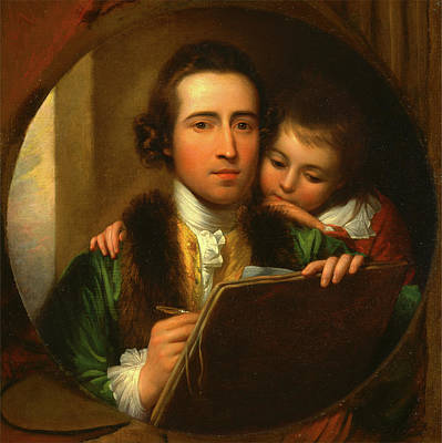 Portfolio Painting - The Artist And His Son Raphael Self-portrait With Raphael by Litz Collection