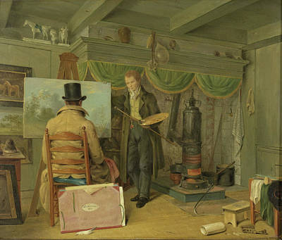 Studio Drawing - The Artist At His Studio, Anthony Oberman by Litz Collection
