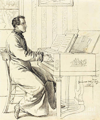 Musicians Drawings - The Artist Brother-in-Law Ludwig Hassenpflug by Indian Summer