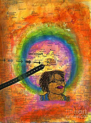 Mixed Media - The Artist Who Lives In Dearborn... by Angela L Walker