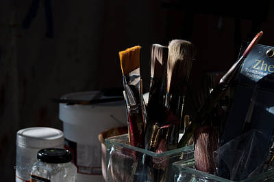 Photograph - The Artists Brushes by Paulette B Wright