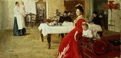 Samovar Photograph - The Artists Daughter, 1905 Oil On Canvas by Ilya Efimovich Repin