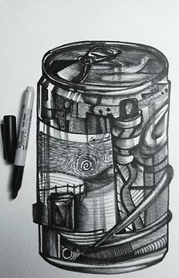 Drawing - The Artist's Energy Drink by Casey P